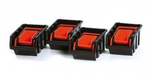 Samostatné boxy na spotrebný materiál orandžový/čierny
